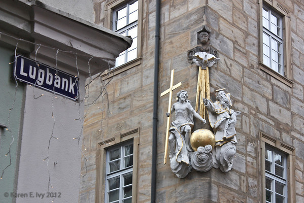 Religious figures on building