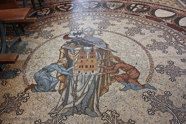 Mosaic memorial to a knight