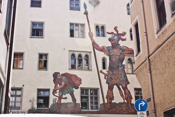 David and Goliath fresco