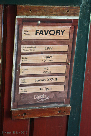 Favory's stall label