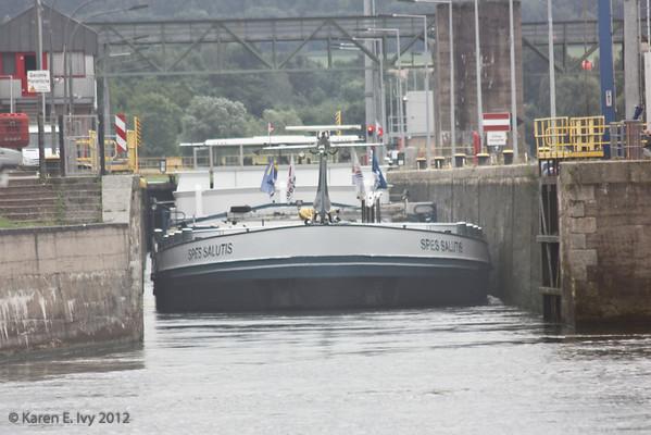 Boat exiting lock